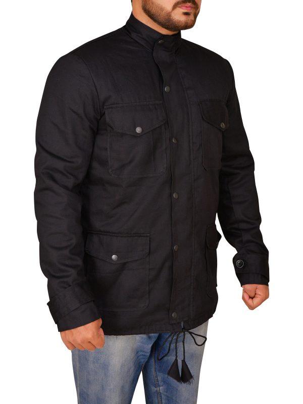 men urban black cotton jacket, mensoutwear cotton jacket,