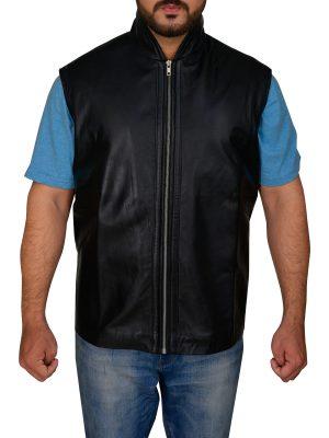 men sleek black leather vest, sleek black leather vest for men,