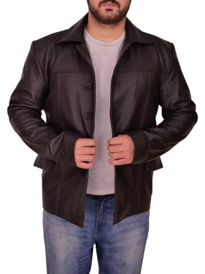 steet fashion men brown leather jacket, trendy men brown leather jacket,