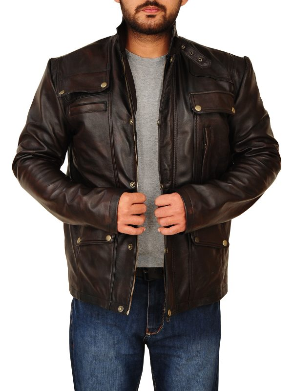 dark brown mens leather jacket, dark brown leather jacket for guys,