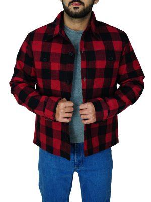 fashionable men checkered jacket, stylish men red checkered cotton jacket,