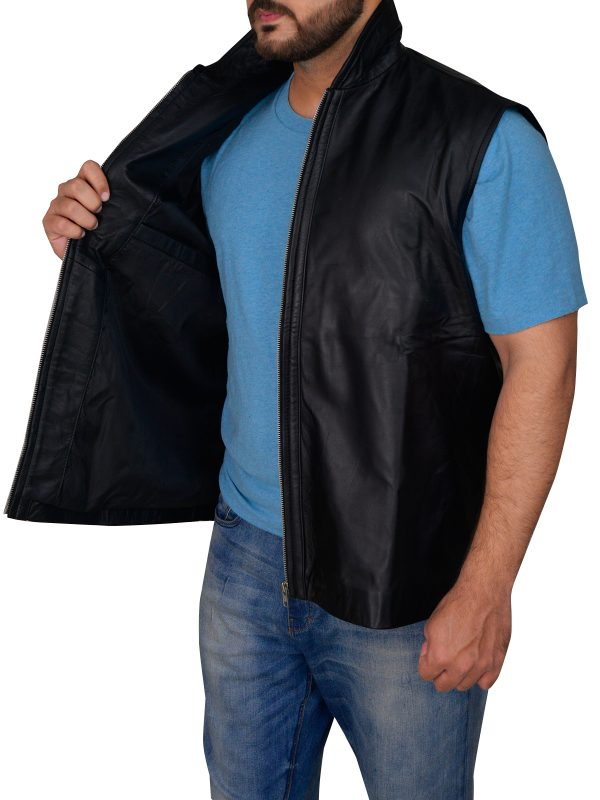 trendy black leather vest for men, body fitted leather vest,