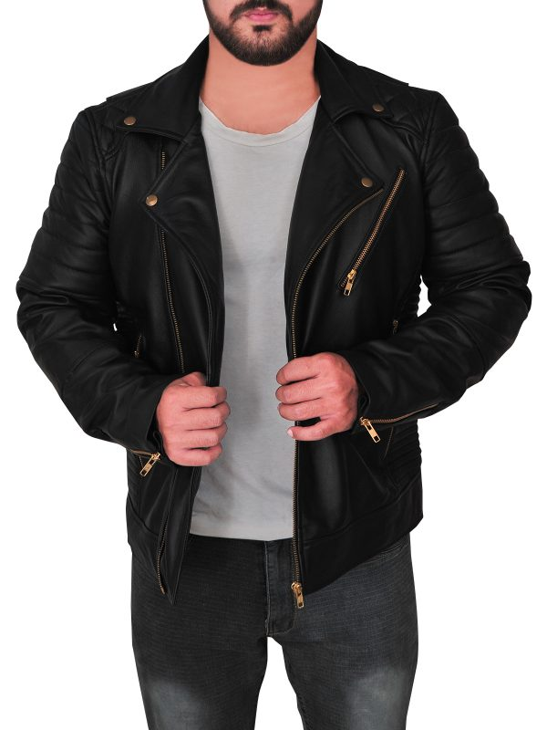 sleek black men leather jacket, street fashion men black leather jacket,
