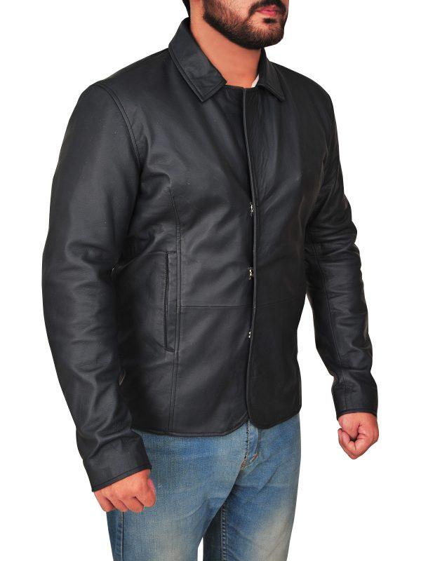 trending black shirt collar leather jacket, fashionable men shirt collar leather jacket,