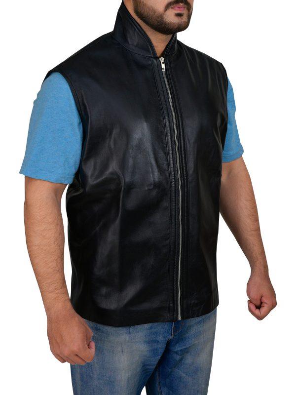 street style black leather vest,