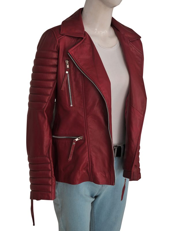 stylish maroon women leather jacket, fashionable women maroon leather jacket,