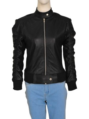 women black varsity leather jacket, black varsity leather jacket for women,