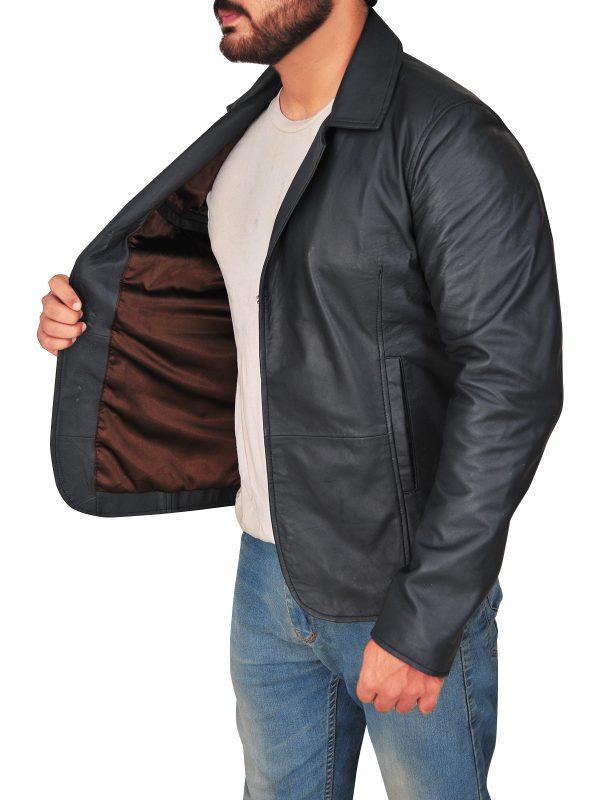 stylish shirt collar men leather jacket, men black leather jacket,