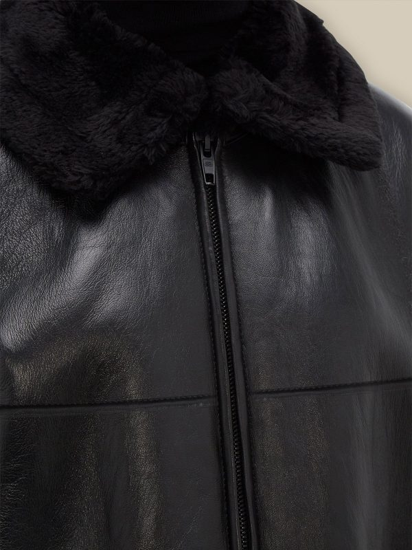 men pure black shearling jacket