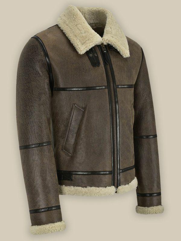 trendy brown shearling jacket