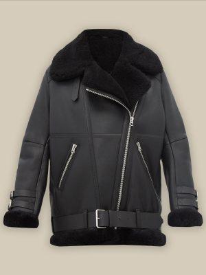 stylish black b3 leather jacket