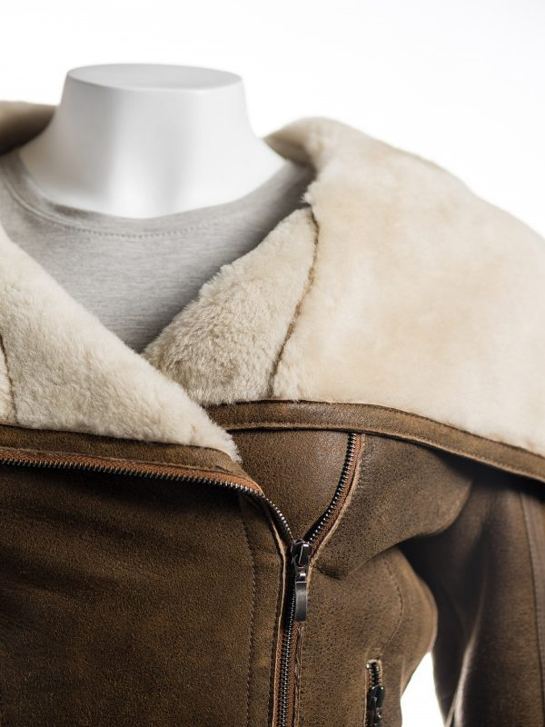 trendy women brown shearling leather jacket