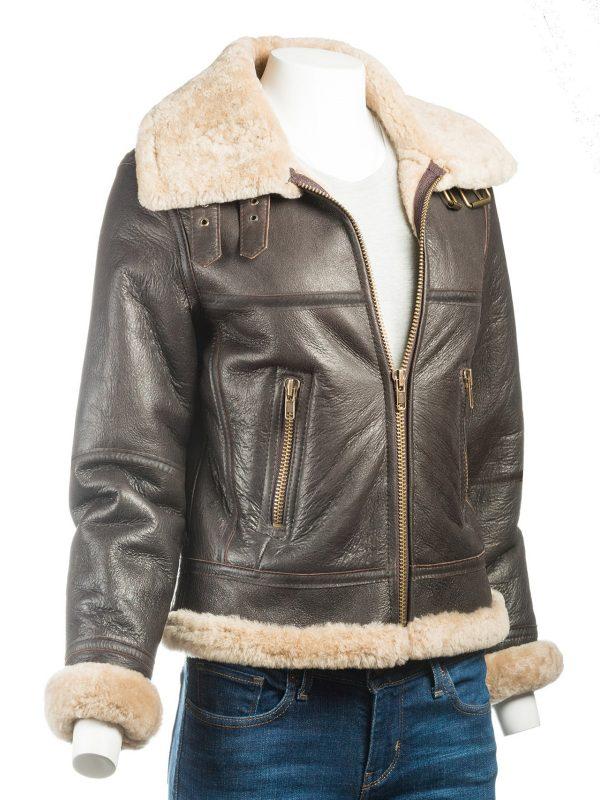 trendy women brown shearling jacket