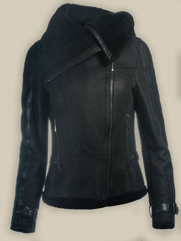 women black oversized shearling jacket