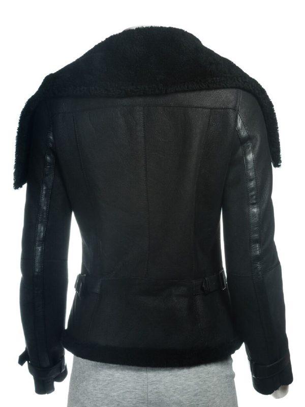women black oversized sheepskin jacket