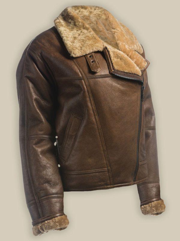 women brown shearling jacket