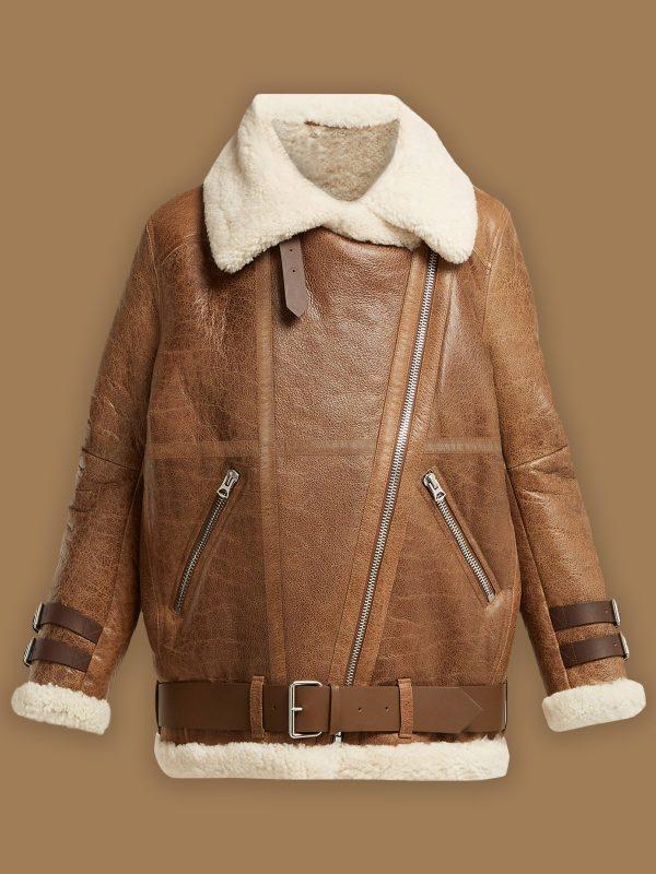women brown sheepskin leather jacket