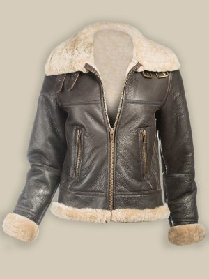 women dark brown leather jacket