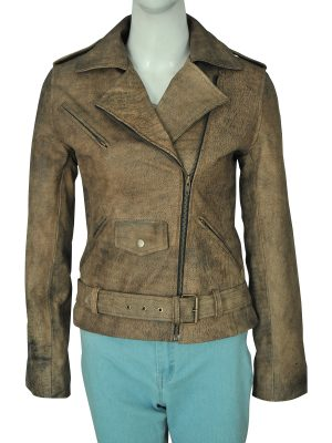 distressed brown women leather jacket, dirty brown distressed leather jacket for women,