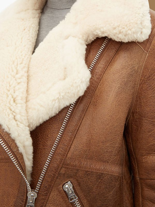stylish brown shearling leather jacket