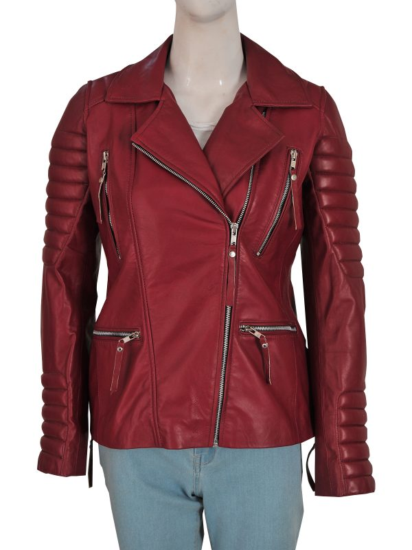 maroon leather jacket for women, women maroon biker leather jacket,