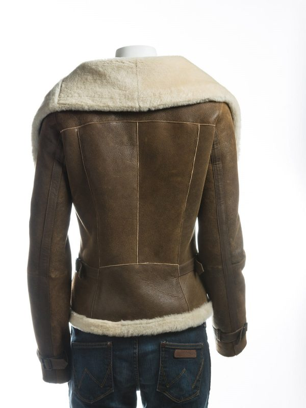 women brown b3 shearling leather jacket