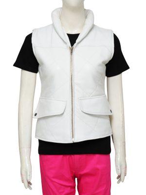 white leather vest for women, girl white leather vest,