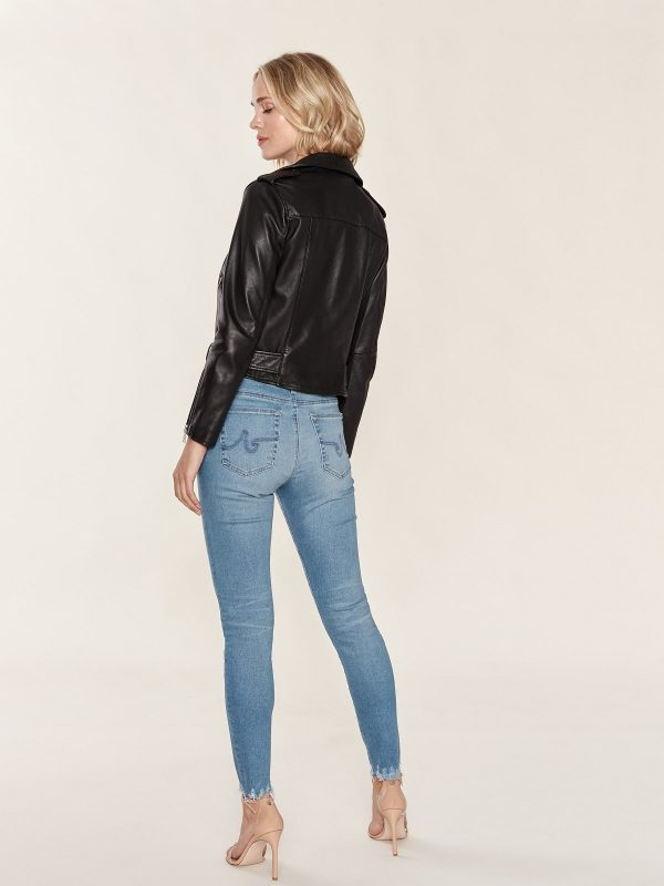 women pitch black leather jacket