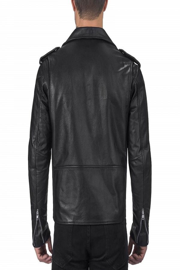 men black leathe jacket