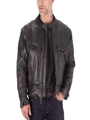 men brown motorcycle jacket