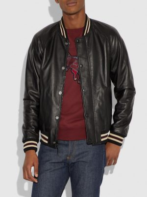 men black leather varsity jacket