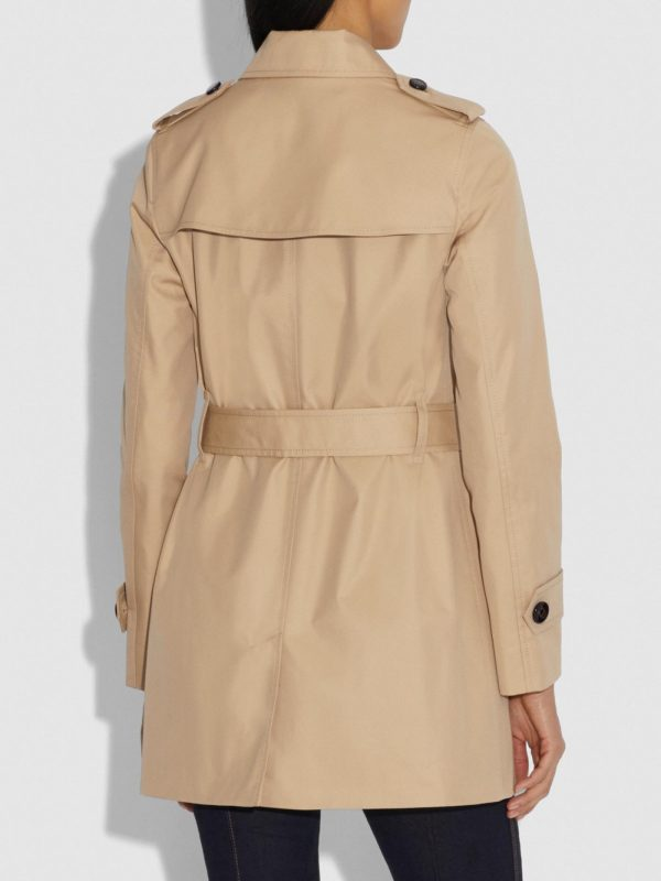 women brown cotton trench