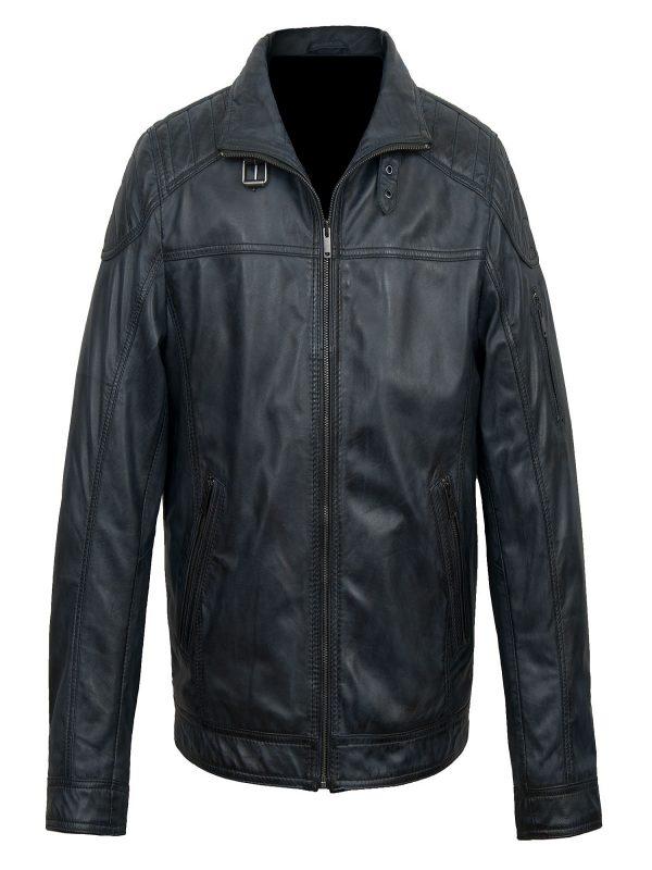 men royal blue biker jacket