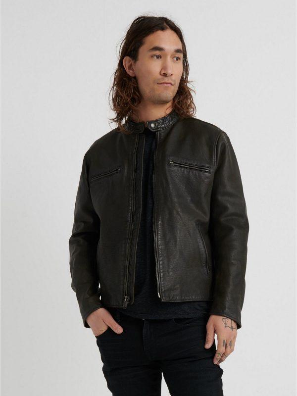 men pure black biker jacket