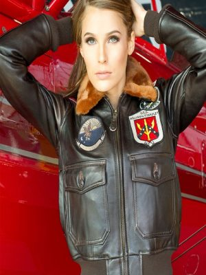 women top gun leather jacket