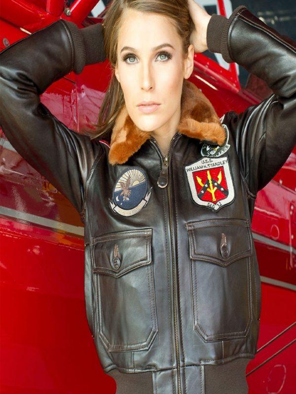 women top gun leather jacket