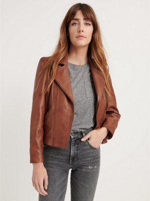 women brown biker jacket