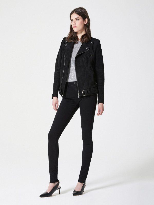 women black suede leather jacket