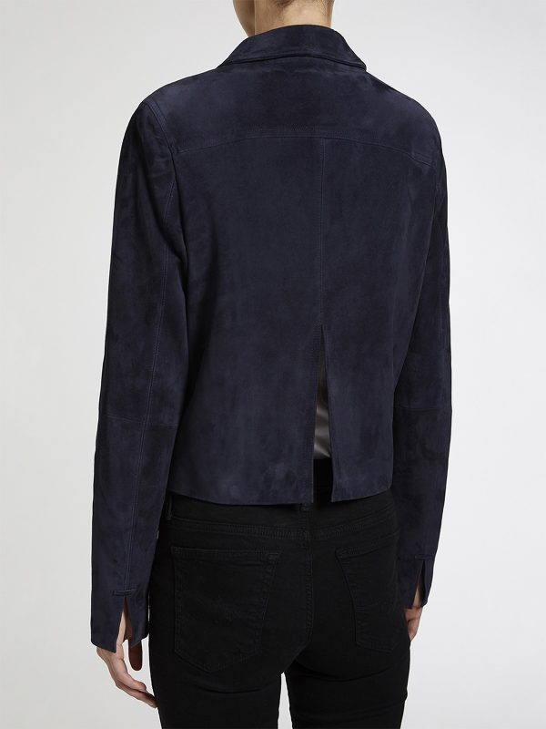 women dark blue cotton jacket
