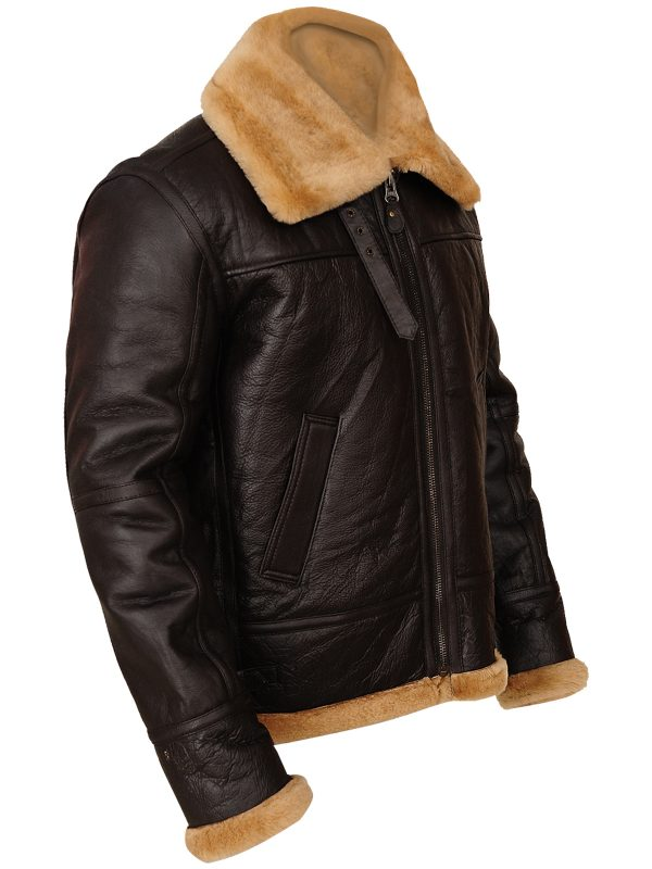 men brown shearling leather jacket