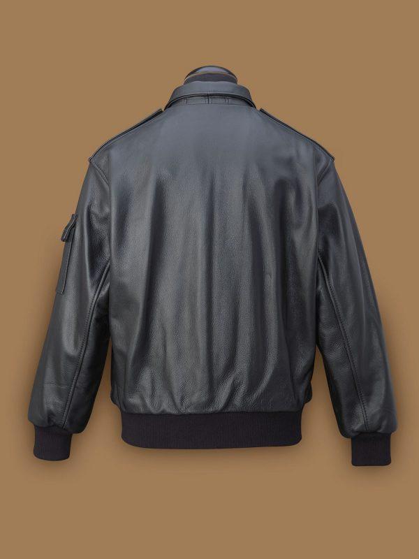 men a2 black leather jacket