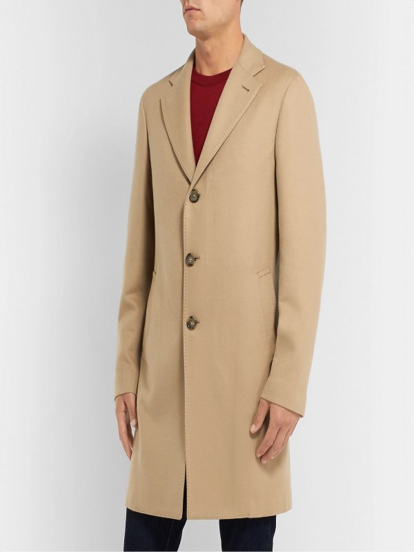 men khaki brown wool coat