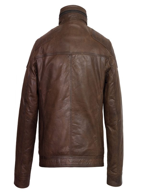 men dark brown leather jacket