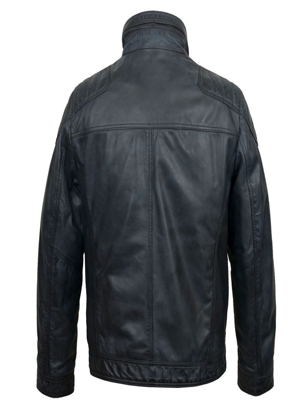 men royal blue leather jacket