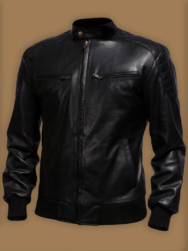 trendy men black leather jacket