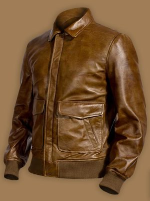 men brown biker jacket