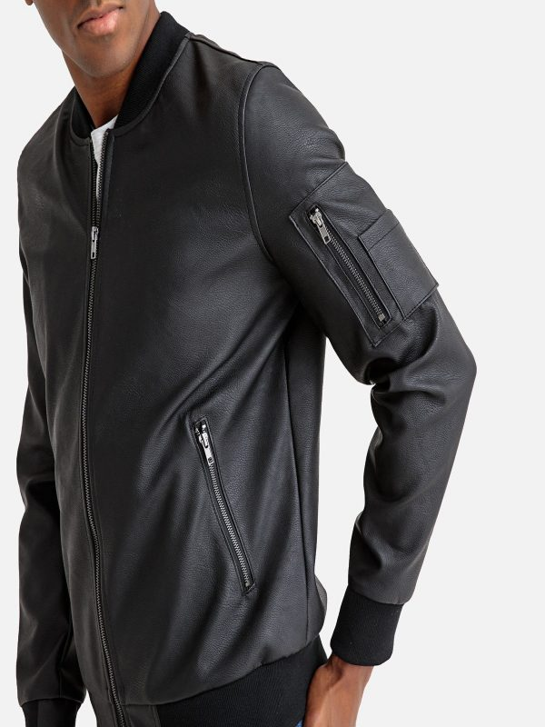 men leather rib knitted jacket