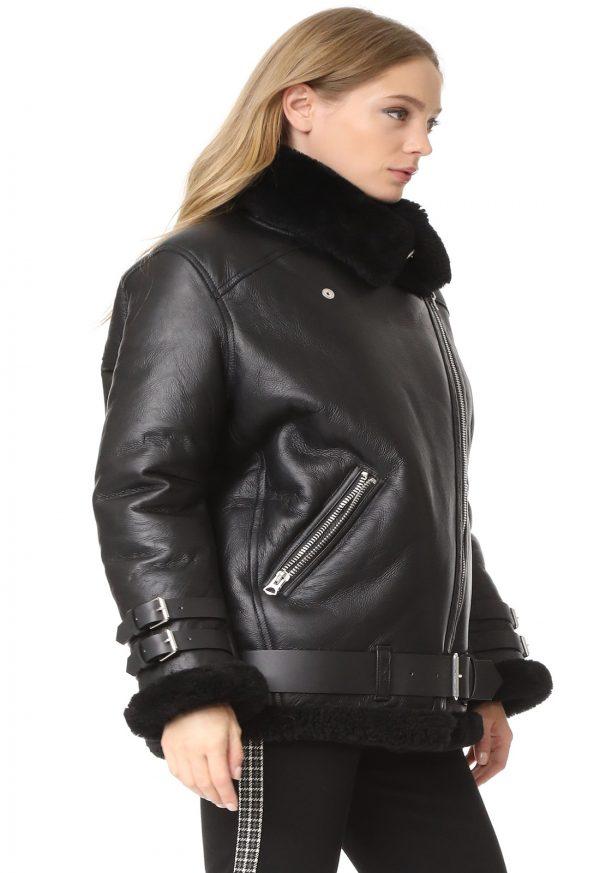 women black shearling leather jacket