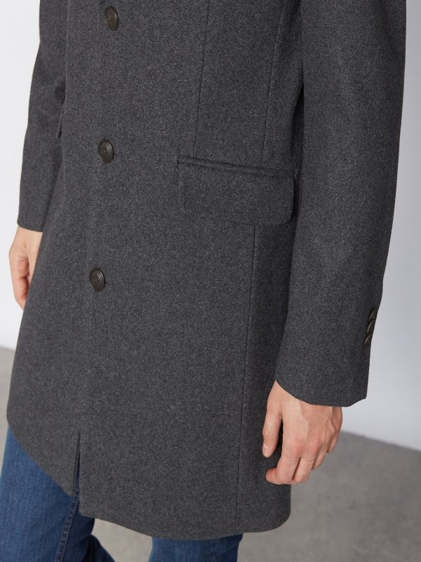 men grey wool trench