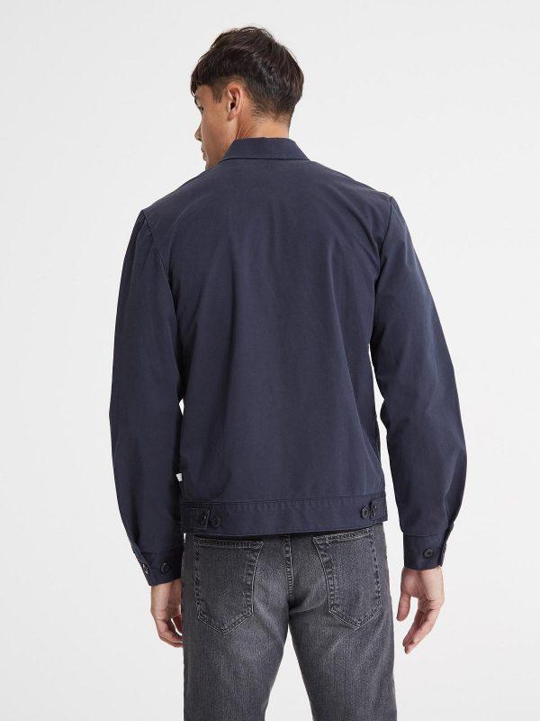 men navy blue cotton jacket